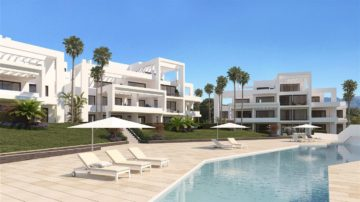 Brand new development of modern and contemporary apartments in one of the best areas of Marbella and Estepona. . It is situated just 1km from the beach, 10 minutes from Puerto Banús, 15 minutes from Marbella and 10 minutes from Estepona. This new complex consists of 56 units, 2 and 3 bedroom apartments and 2 and 3 bedroom penthouses, with modern and contemporary architecture, large terraces and solariums to get the most out of the south and south-west, a view of the golf course, and some properties with panoramic sea views, open kitchen onto the living room, large windows, excellent quality and spectacular gardens, 4 swimming pools, 1 paddle court and a small social area with a barbecue. All apartments have one parking space and a storage room. The prices start from EUR 341.000 to EUR 695.000,00